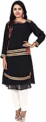 Touch Patiala Women's Georgette Regular Fit Kurta (Black, X-Large)