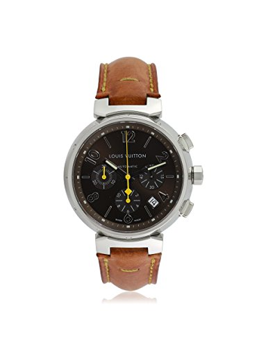 Louis Vuitton Men's Pre-Owned Tambour Brown Leather Watch