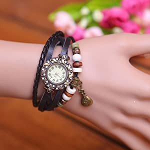 Top Seller Women Ladies Vintage Weave Bracelet Purse Pendant Leather Quartz Wrist Watch