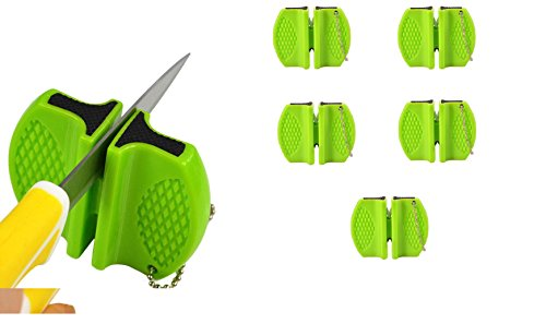 6- Pack Pocket Ceramic Knife & Scissors Sharpening Tool for Kitchen & Camping (Green)