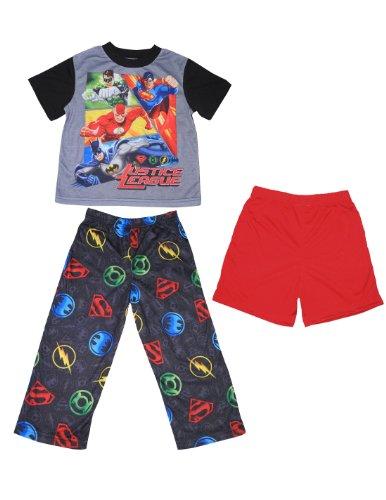 3 Pcs Set: Justice League Boys Pajama Top, Pants & Shorts Set 4 Multicolor