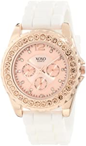 XOXO Women's XO8044 Rhinestone Accent White Silicone Strap Watch