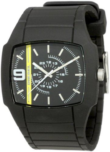 Diesel DZ1322 Unisex Black Rubber Strap Watch With Black Dial