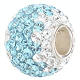 Everblingyin Light Blue and Clear 130pcs Austrian Crystal with Authentic 925 Sterling Silver Core Bead Fits Pandora Chamilia Biagi Troll Charms Europen Style Bracelets