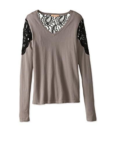 Kier & J Women's Lace Contrast V-Neck Sweater