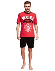 Manchester United Football Club Pure Cotton Pyjama Shorts Set