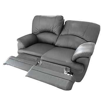 Divano 2 posti Relax 2 recliner motorizzati elettrici totali in ecopelle morbida modello Luca - Nero PU