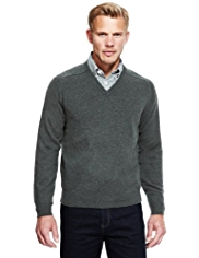 2in Longer Blue Harbour Extrafine Pure Lambswool V-Neck Jumper