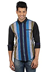 Le Tailor Men's Slim Fit Casual Stripes Shirt ( SLCFS101,Black & Blue,L )