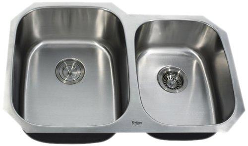Kraus KBU24 32-Inch Undermount 60/40 Double Bowl 16 gauge Kitchen Sink, Stainless Steel
