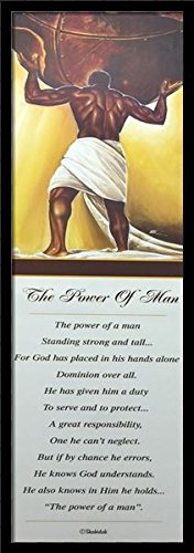 The Power Of Man - Wak & Shahidah 12x36 Black Framed - African American Black Art Print Wall Decor Poster #USB3040 9L10 (African American Pictures compare prices)