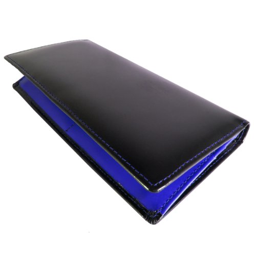 DIABLO KA-509 馬革 × 牛革 長財布 【ブラック×ブルー】