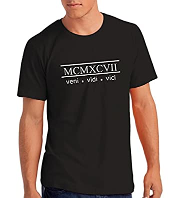 "Mens ""Veni Vidi Vici 1997"" 18th Birthday / Anniversary T Shirt Gift with Year Printed in Roman Numerals: B, S"