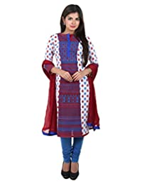 3Pce Set - White Cotton Kurta With Contrast Blue Printed Yoke With Chudi And Dupatta