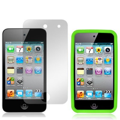 4G Touch Green Silicone Protective Armour Case Cover & Screen Protector Kit for New Apple iPod Touch 4th Generation - 8GB 32GB 64GB