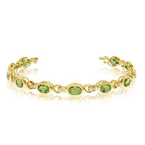 Oval Peridot and Diamond Link Bracelet 14k Yellow Gold (9.62ctw)