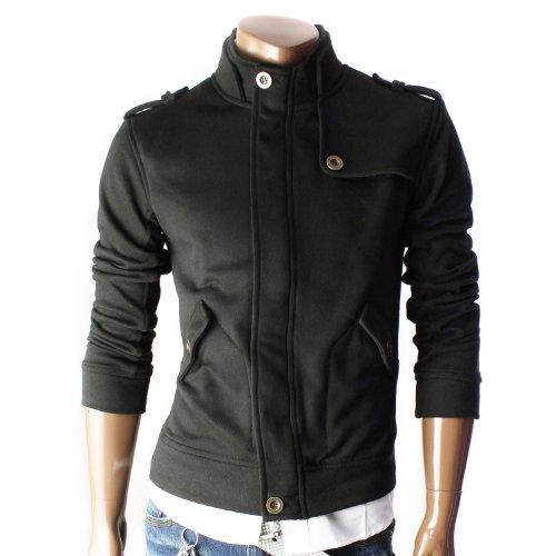 Mens Casual Shoulder strap Zipup jacket BLACK(STRAP)