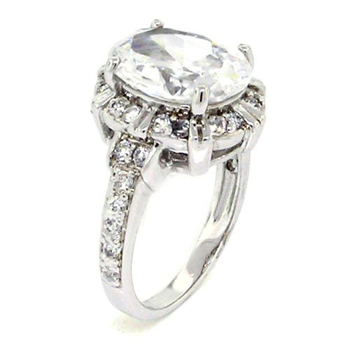 Classic Engagement Ring w/Oval Brilliant White CZ Size 8