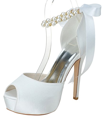 Zenf Women'S High Heel Sandals White 5.5 Us