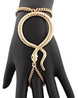 Snake Adjustable Finger Ring and Hand Chain Bracelet One Size Fits Most - Goldtone Silvertone or Gun Metal