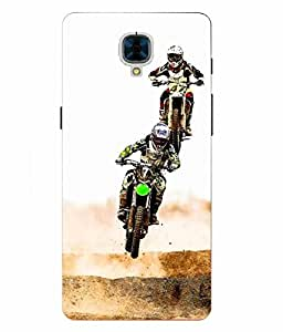 Case Cover Racing Bike Printed Multicolor Hard Back Cover For OnePlus 3