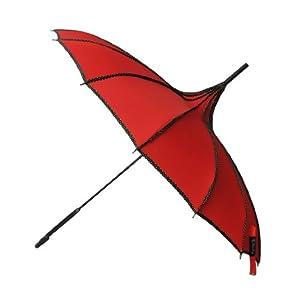 Remedios Boutique Nylon Wind-Resistant Pagoda Umbrella with Dots, Bright Red