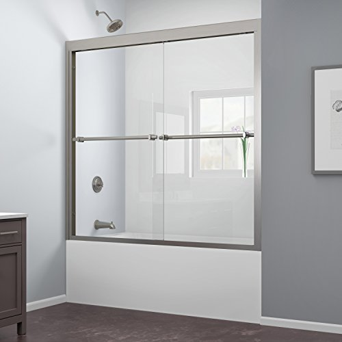 DreamLine Duet 56-59 in. Width, Frameless Bypass Sliding Tub Door, 5/16