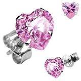 Gekko Body Jewellery .925 Sterling Silver Stud Earring with 6mm Pink Heart CZ Gem