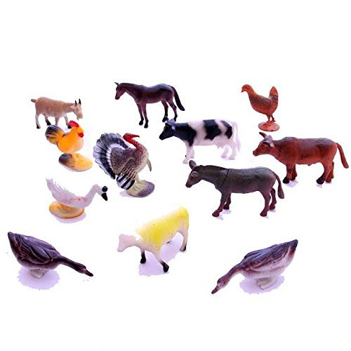 Dazzling Toys 12 Piece Set of Adorable Farm Animals - 1