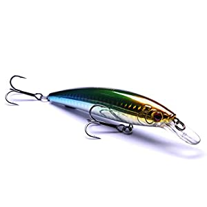 Hisea Floating Minnow Jerkbait Fishing Lures Hard Baits Crankbaits Bass Hooks Tackle, 110mm 13g, Gold Head