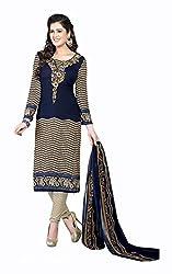 Varsha Women's Chiffon Unstitched Dress Material (Blue)