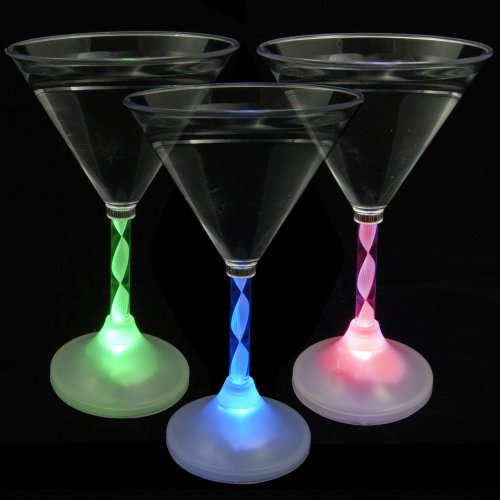 Set Of 6 Led Light Up Flashing Martini Glasses Set Of 6