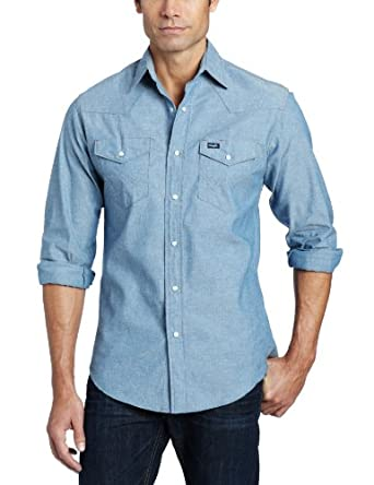Wrangler Men's Big And Tall Authentic Cowboy Cut Work Western Shirt,Medium Blue Chambray,18 36