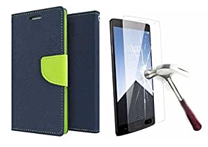 Online Street Wallet Flip With Tempered Glass For Lenovo A6000- (Blue + Tempered)