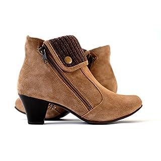 Damen Stiefeletten echtes Wildleder   Ankle Boots Leder braun High Heels (38)