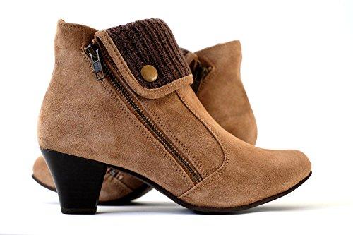 Damen Stiefeletten echtes Wildleder | Ankle Boots Leder braun High Heels (39)