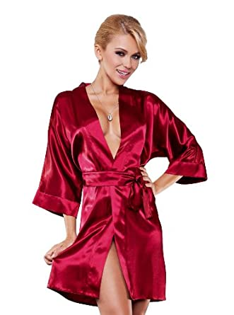 DKaren Ladies Satin Dressing Gown / short satin Robe ...