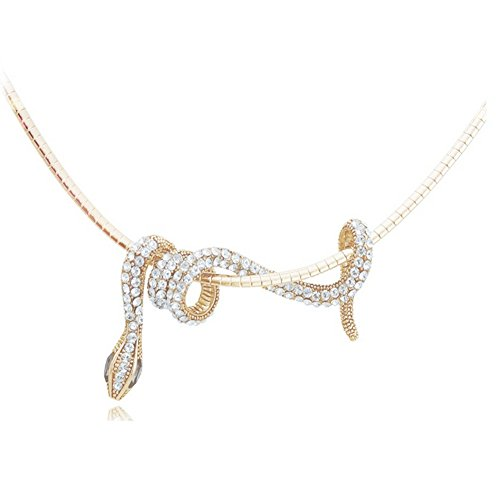 "Jemry and Jewelry Personality Crystal Small Snake Winding Shape Pendant Necklace ""18"""
