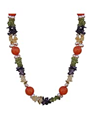 Nisa Pearls Strand Necklace Set For Women With Multi Color Stones