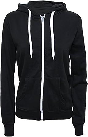 Womens Hooded Zip Long Sleeve Pocket Stretch Plain Ladies Hoodie Top - Black - 8