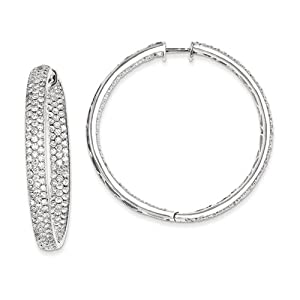 14k White Gold Diamond In-Out Hinged Hoop Earrings Diamond quality AA (I1 clarity, G-I color)