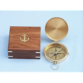 "Hampton NauticalSolid Brass Gentlemen's Compass with Rosewood Box, 4"", Brass"