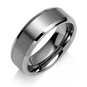 Bling Jewelry Brushed Matte Center Unisex Tungsten Carbide Ring 8mm