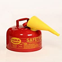 "Eagle UI-20-FSY Type I Metal Safety Can with F-15 Funnel, Diesel, 11-1/4"" Width x 9-1/2"" Depth, 2 Gallon Capacity, Yellow"