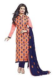 Blissta Orange Chanderi Embroidered Dress Material