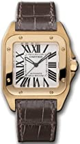 Cartier Santos 100 18kt Rose Gold Ladies Watch W20108Y1