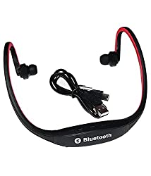 Bluetooth Headphones with Mic SD Card Slot BS19C (Black-Red)