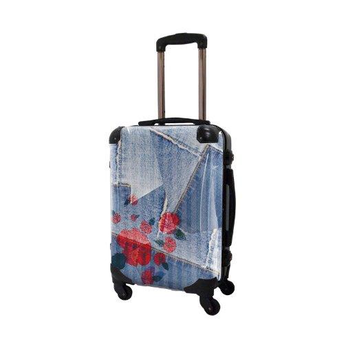 キャラート アートスーツケース ポップニズム デニム (コラージュブルー2 ) フレーム4輪 機内持込