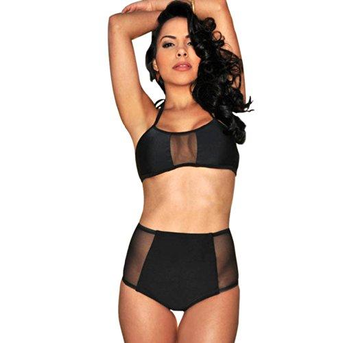 b40b57af6587a Cocoship Hollow Vintage High Waisted Bikini Engraving Swimsuits Swimwear  (FBA)