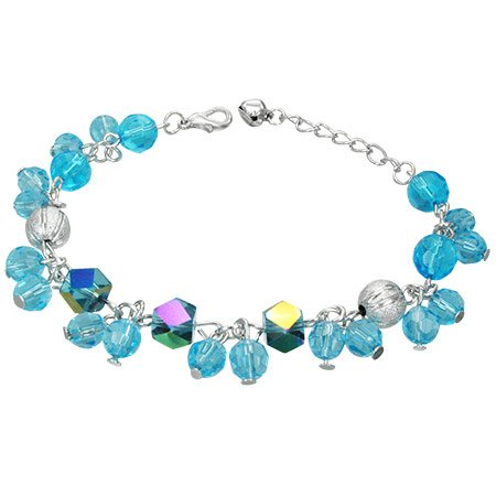 The Stainless Steel Jewellery Shop - Gorgeous Aqua Iridescent Beads Bracelet